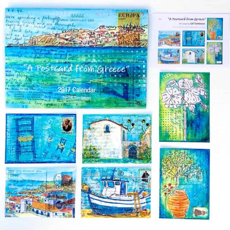 postcards, greece, art, gill tomlinson,