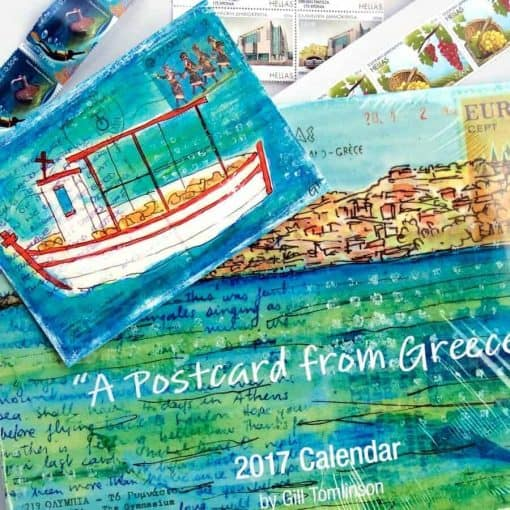 calendar, greece, artwork, postcards, gill tomlinson