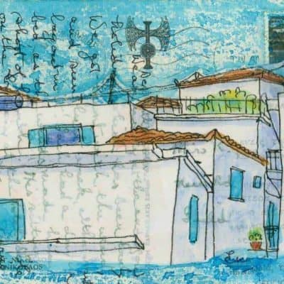 Greek village scene postcard painting