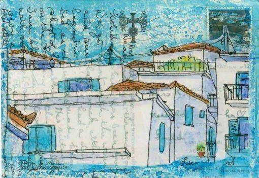 Greek village scene postcard painting