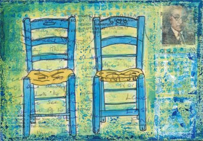 two blue Greek chairs collage painting