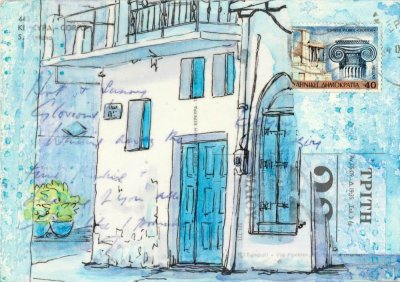 blue white village house Greece postcard art
