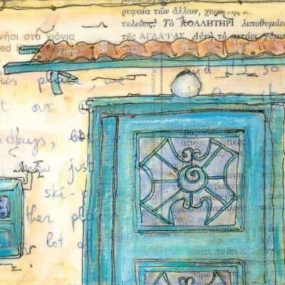 green door electric meter Greece postcard art