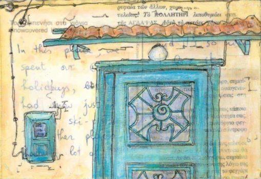 green door electric meter Greece postcard art