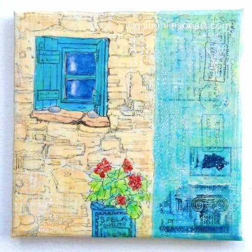 painting, greek house with small blue window with shutters and geranium