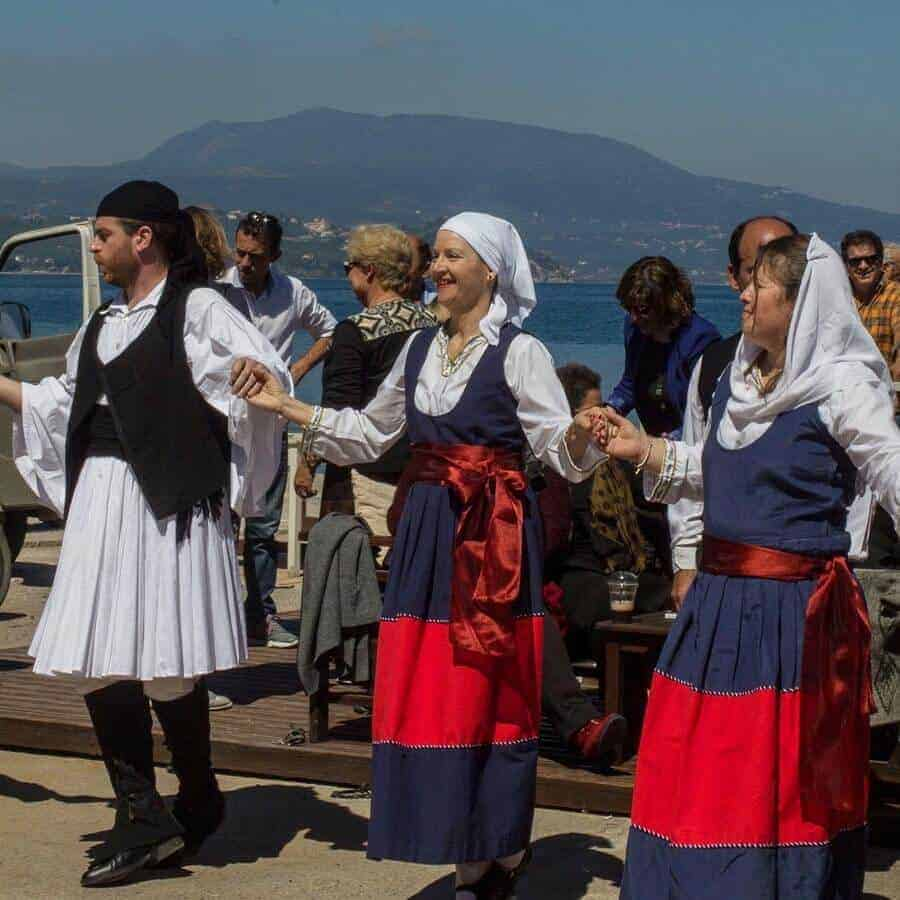 dancing in traditional costume in Koroni on Greek Independence Day