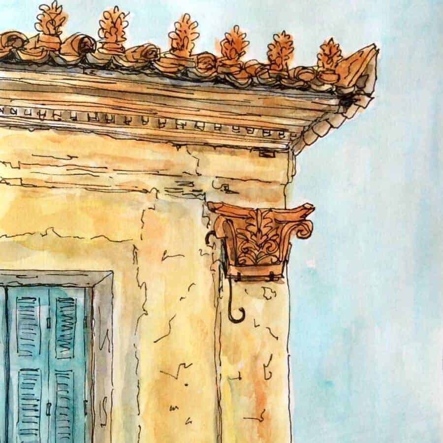 Painting of Tarsouli Mansion in Koroni by Gill Tomlinson Art