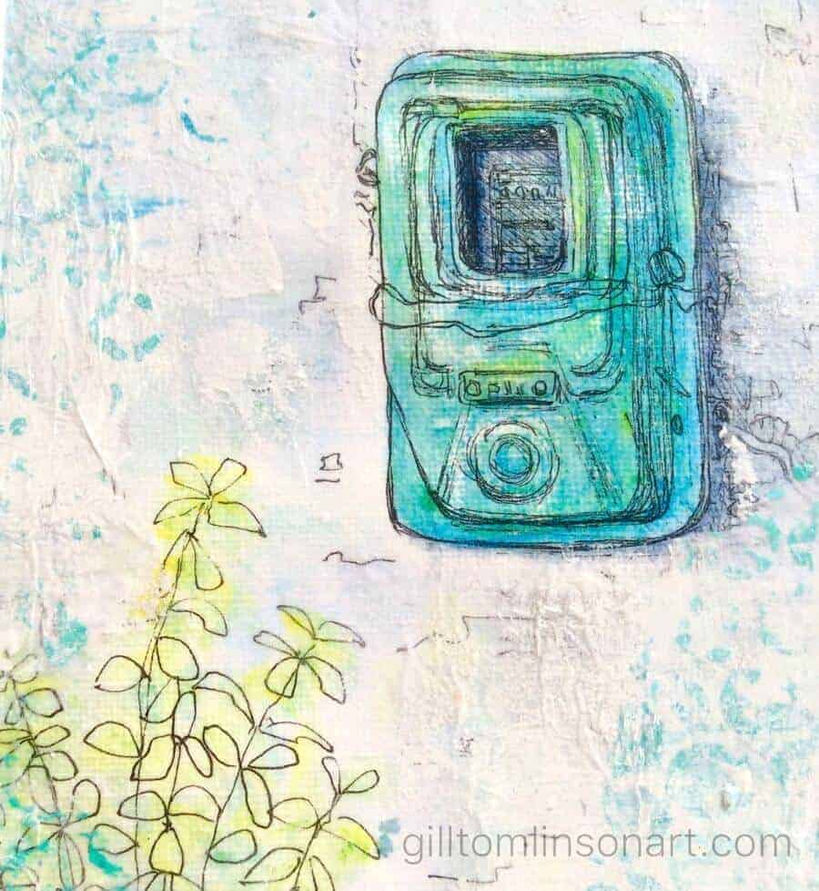 connected, painting, greek, greece, electric meter