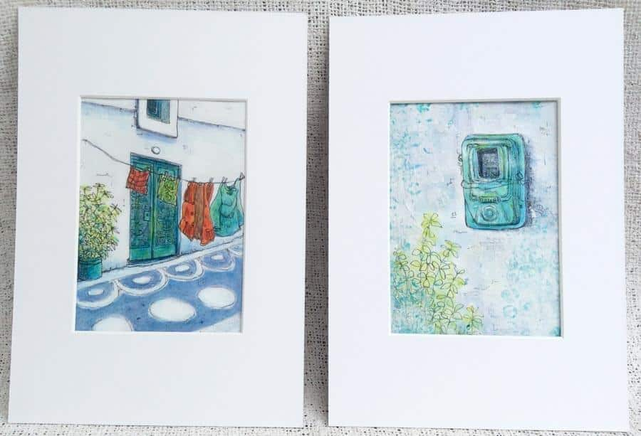 two original paintings by Gill Tomlinson Inspired by Greece