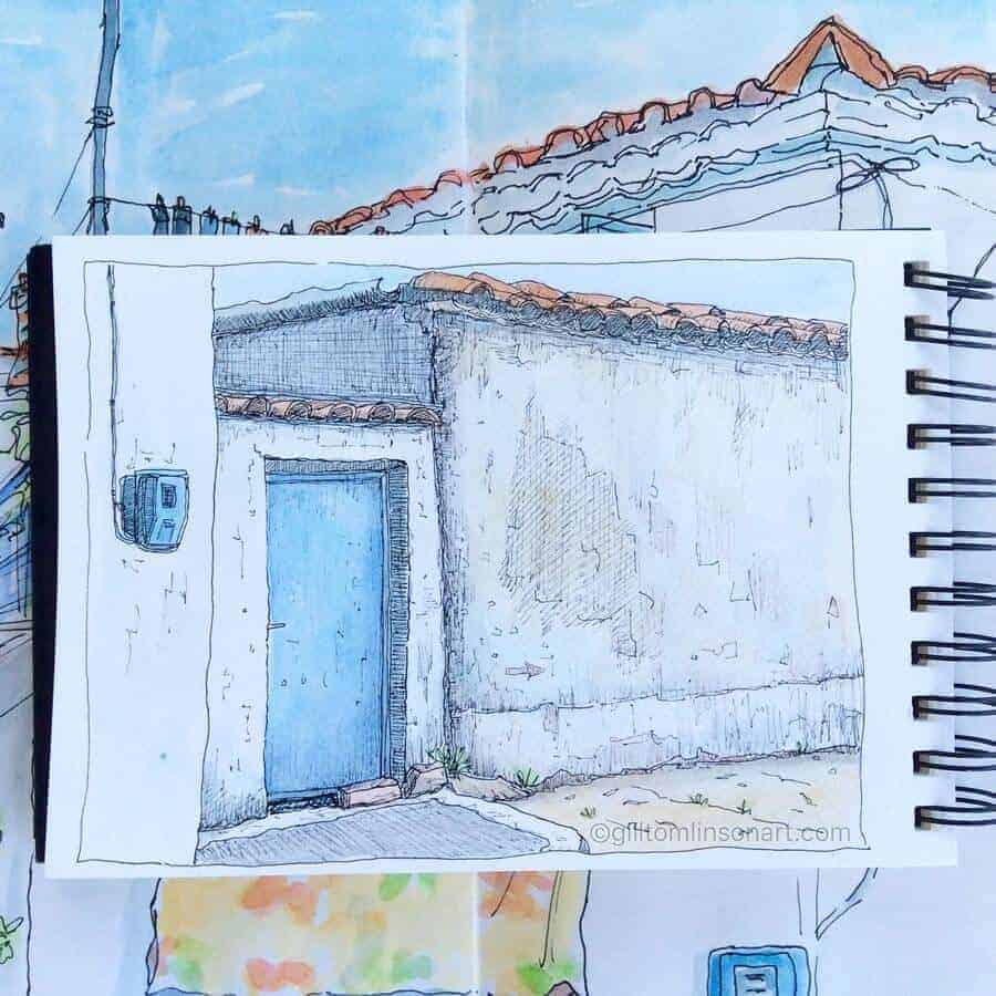 sketchbook watercolour drawing of greek village scene by gill tomlinson artist