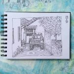 sketchbook drawing Greek village scene Gill Tomlinson Art
