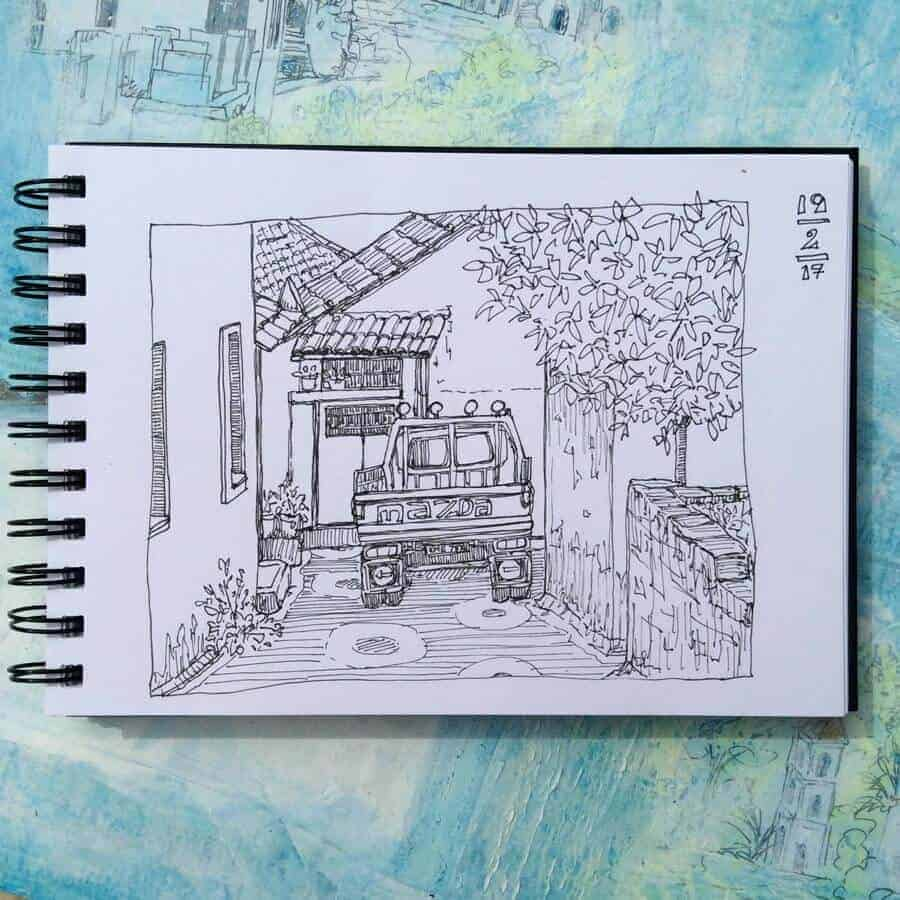 sketchbook drawing Greek village scene Gill Tomlinson Art