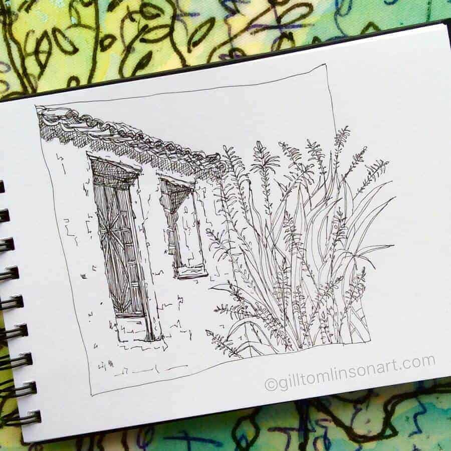 drawing of an old greek village house with flowers by artist gill tomlinson