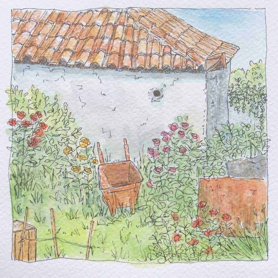 watercolour drawing of a Greek village house and garden by Gill Tomlinson