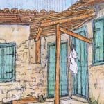 painting old Greek village house gill tomlinson