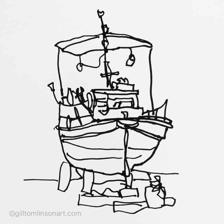 left hnded line drawing Greek fishing boat