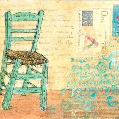green Greek taverna chair painting postcard art