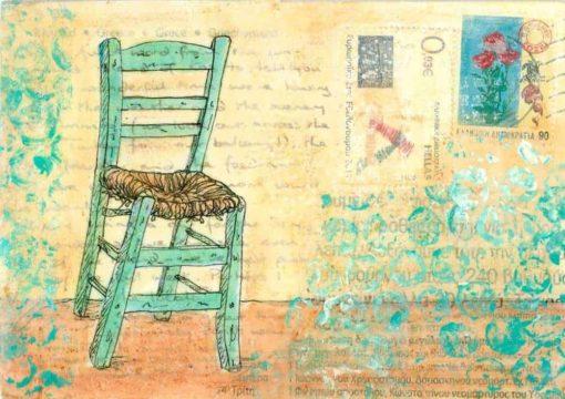 green Greek taverna chair painting postcard art