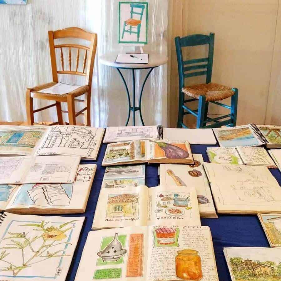sketchbooks greece art exhibition