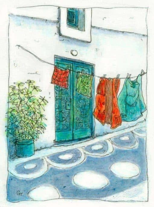 original acrylic painting of street scene in Greece by Gill Tomlinson art inspired by Greece