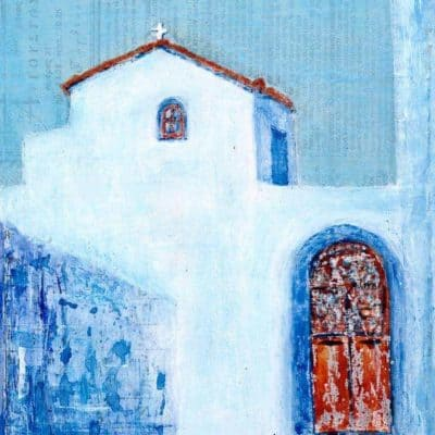 Greek Chapel acrylic mixed media painting Gill Tomlinson Art