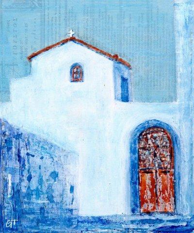 Greek Chapel acrylic mixed media painting Gill Tomlinson Art