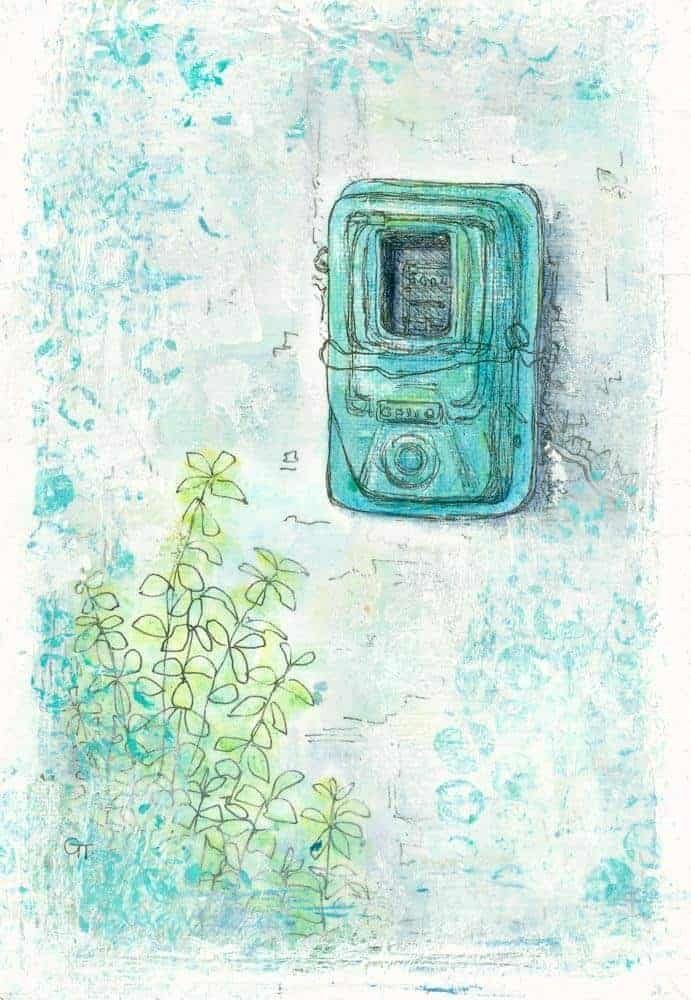 painting of a Greek electricity metre by Gill Tomlinson mixed media art inspired by Greece