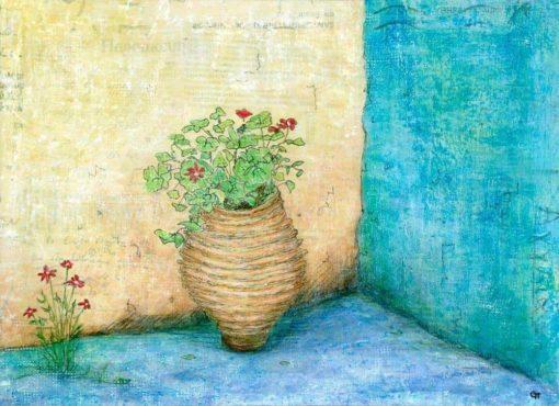 painting flowers Greek pot blue walls Greek text Gill Tomlinsonartist