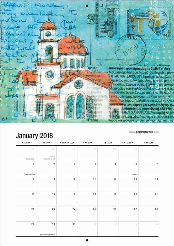 Greek church drawing on vintage postcard from greece calendar page