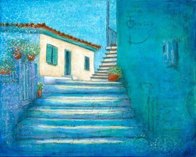 Greek village scene backstreets steps blue walls
