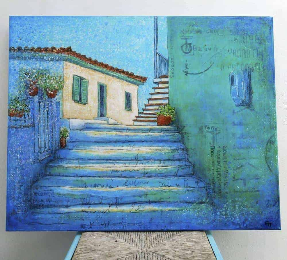 Painting of a Greek village house and stepped street by Gill Tomlinson Art