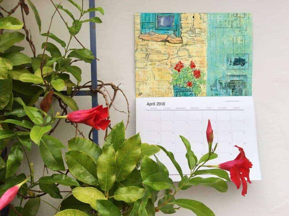 2018 art calendar by Gill Tomlinson with twelve full colour pages of art inspired by Greece