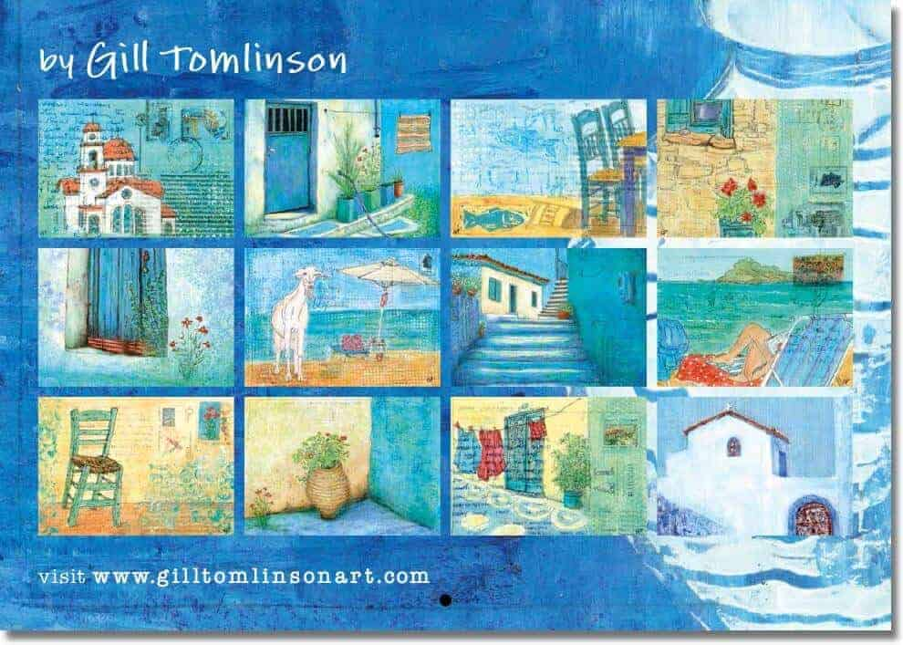 2018 art calendar by Gill Tomlinson artist with twelve full colour paintings inspired by Greece