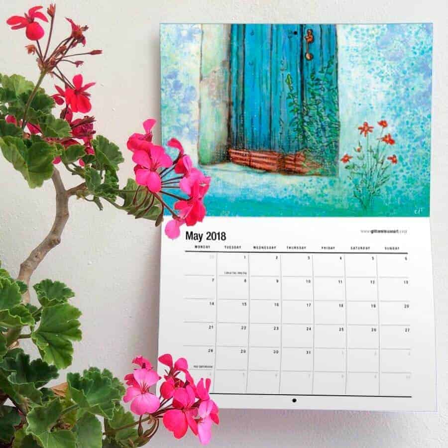 2018 art calendar by gill tomlinson called beyond blue twelve full colour calendar pages of art inspired by Greece
