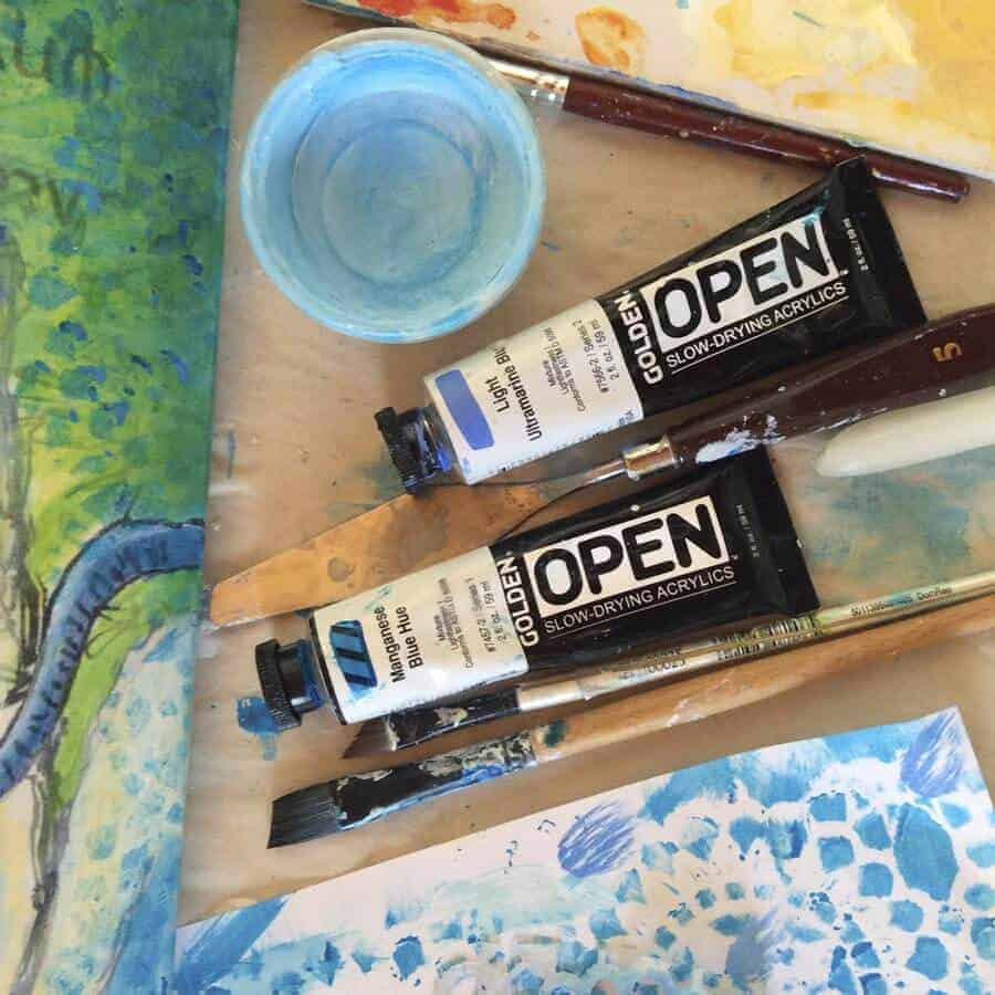 acrylic paints work in progress photograph by Gill Tomlinson Art