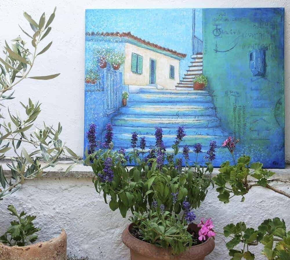 Painting of Greek village scene