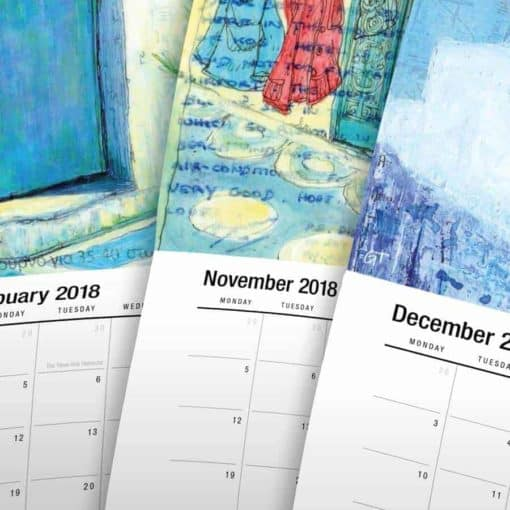 2018 art calendar pages by Gill Tomlinson art inspired by Greece