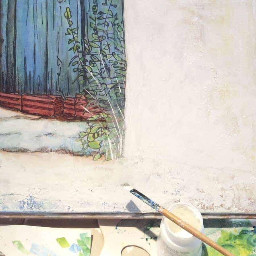 painting of greek blue door work in progress by Gill Tomlinson artist