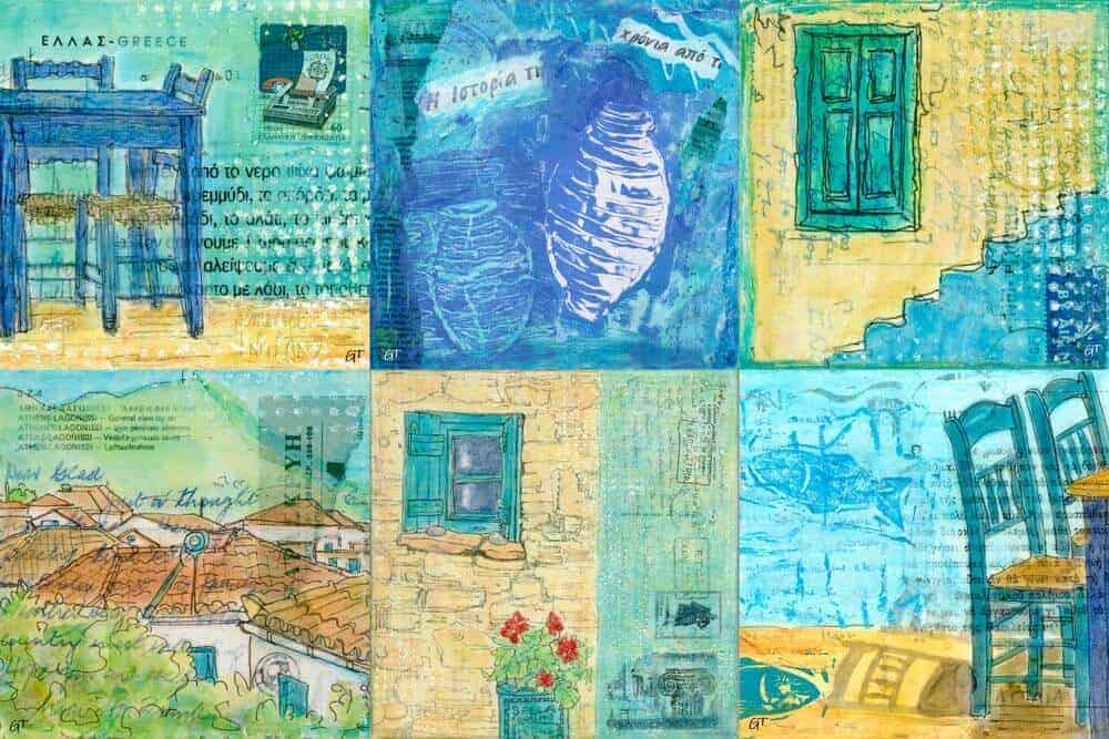 square cotton canvas reproductions Greece inspired art
