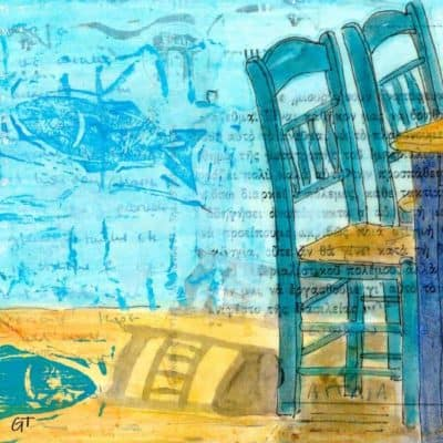 fish taverna collage painting Greece