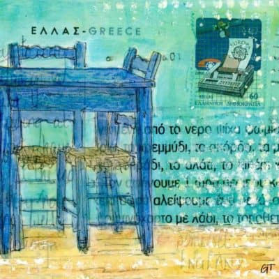 blue taverna table chairs postcard art Greece