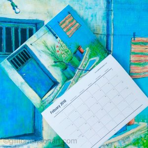 February calendar image with original painting