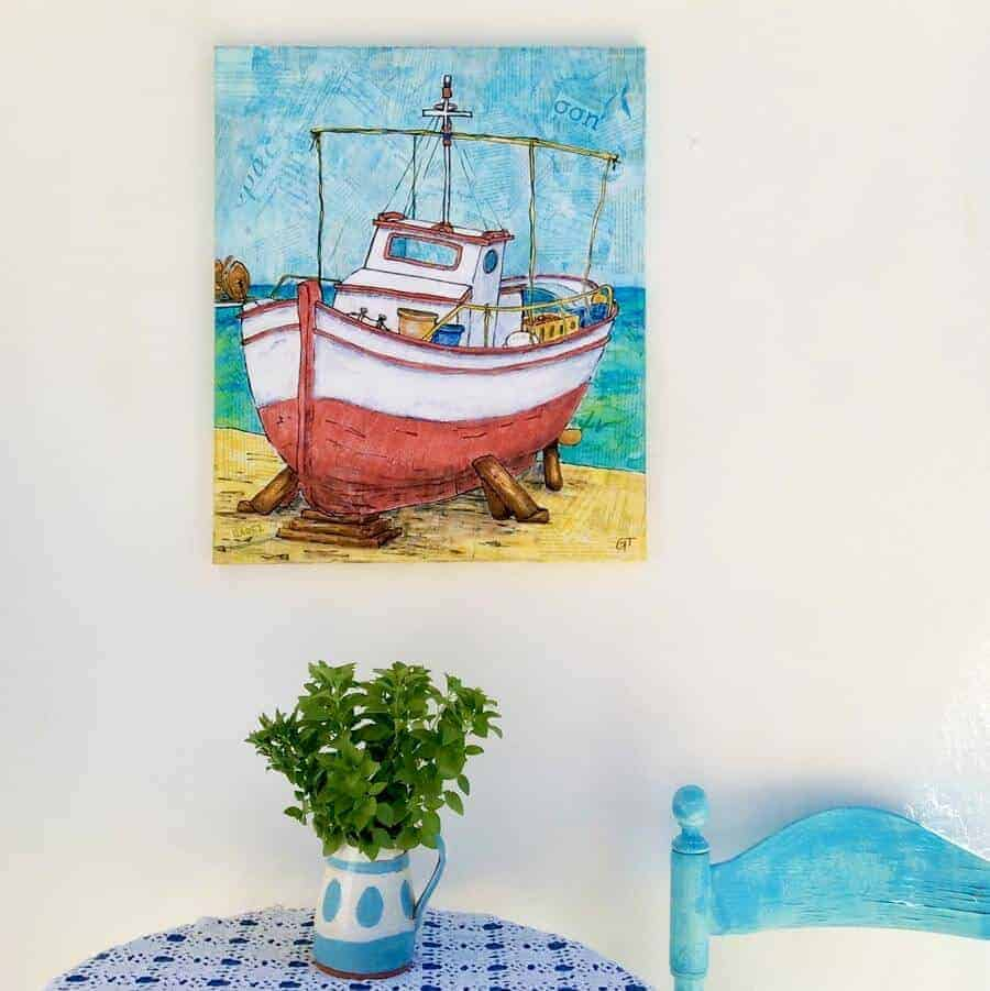 Greek fishing boat Koroni harbour giclee canvas print Gill Tomlinson Artist