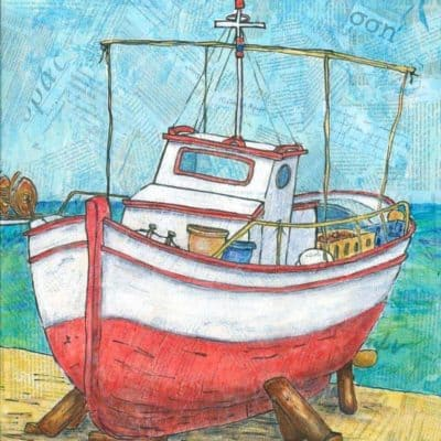 collage painting Greek fishing boat by Gill Tomlinson Artist