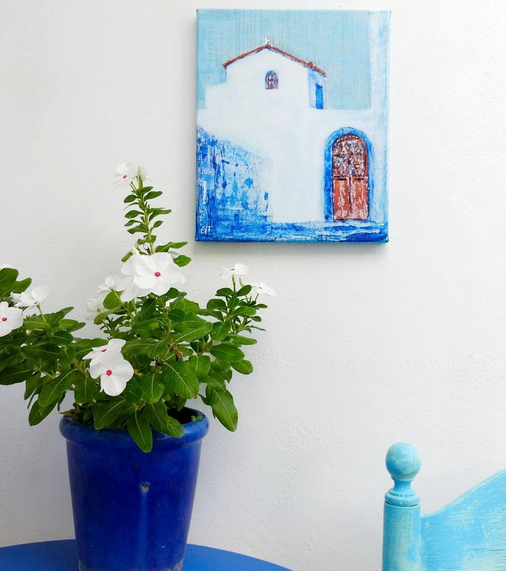 Greek chapel Koroni Monastery canvas print Gill Tomlinson Art