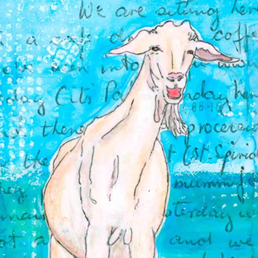 holiday goat section of painting by Gill Tomlinson