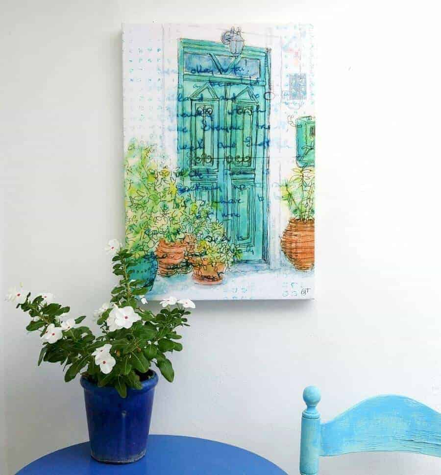 Green blue Greek door terracotta pots canvas Gill Tomlinson Art