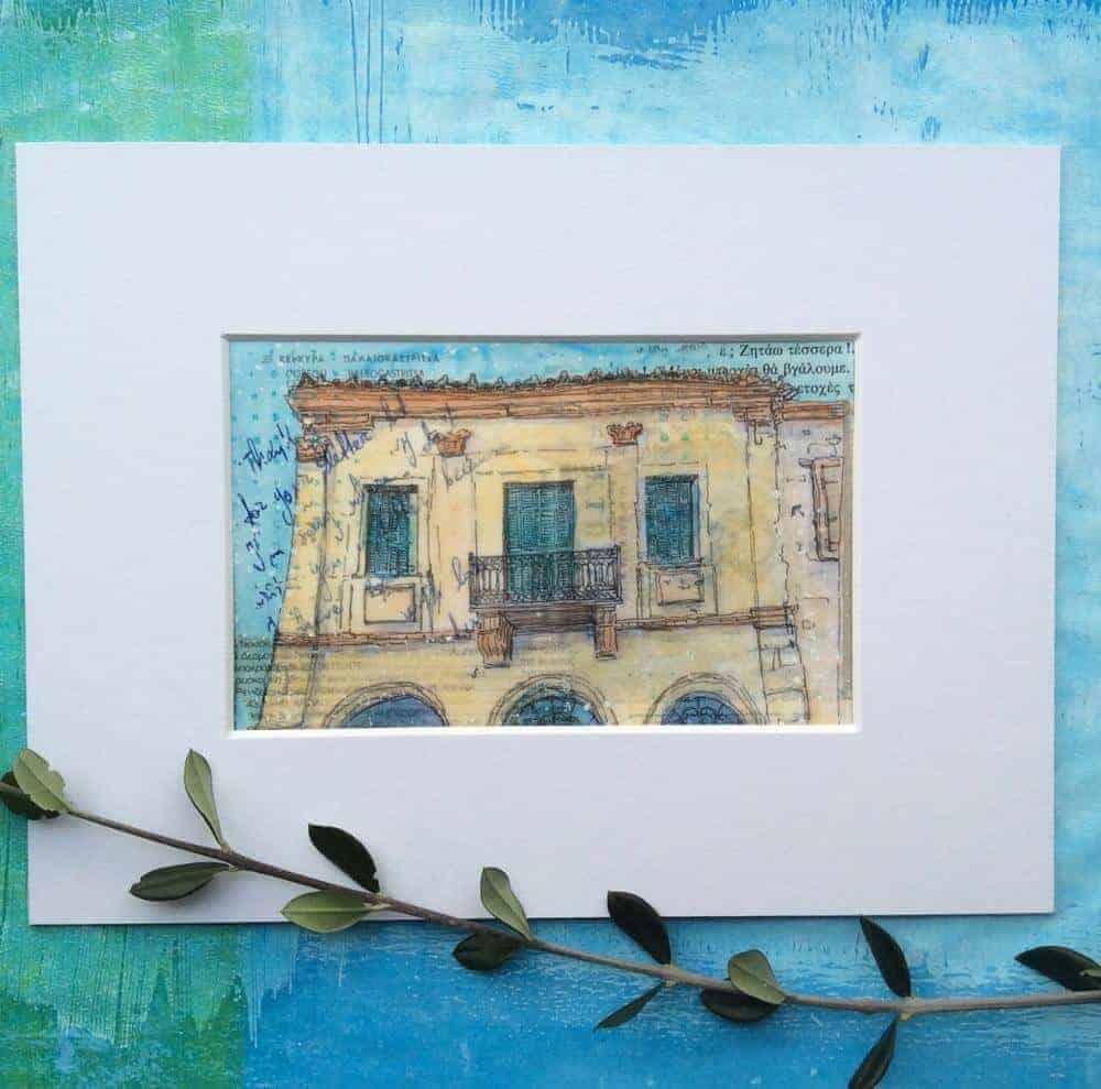 postcard painting Greece old building arhontiko
