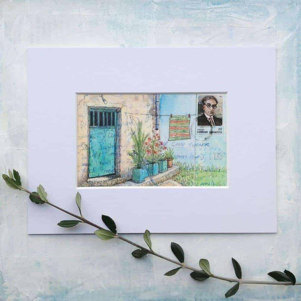 Greek village house altered vintage postcard painting
