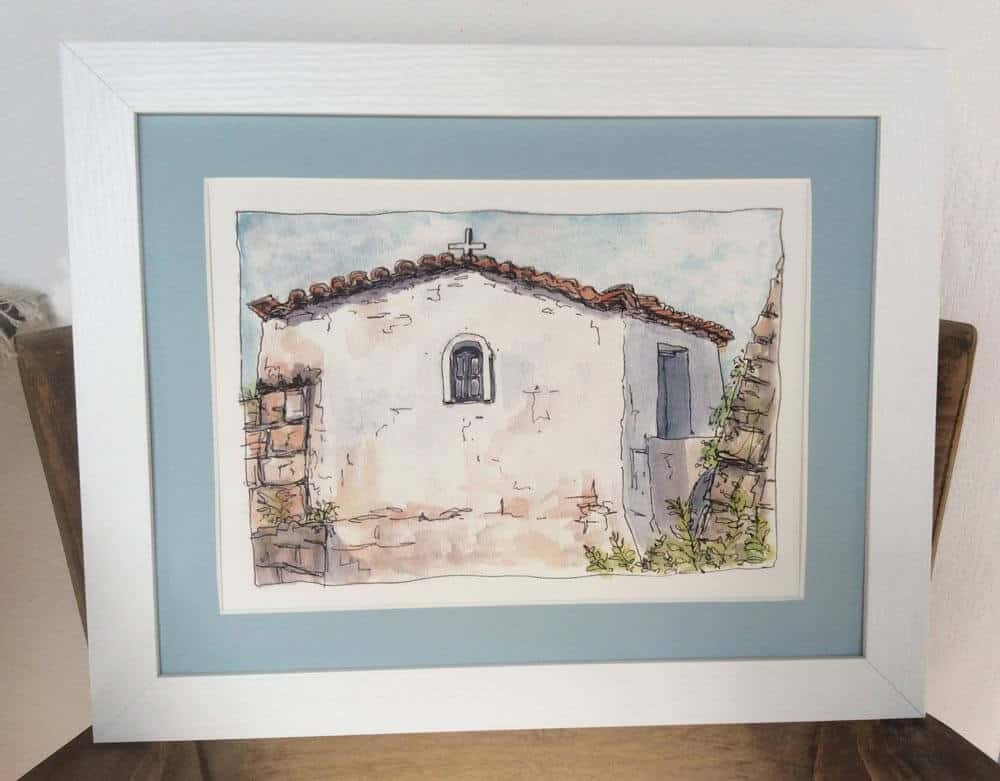 Koroni chapel art print framed by Gill Tomlinson art